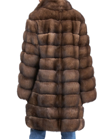 Image 2 of 4: Gorski Horizontal Russian Sable Stroller Coat