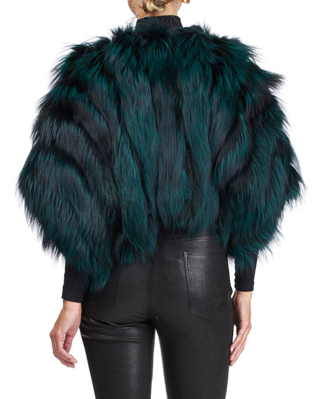Image 2 of 4: Burnett Cropped Fox Fur Bolero