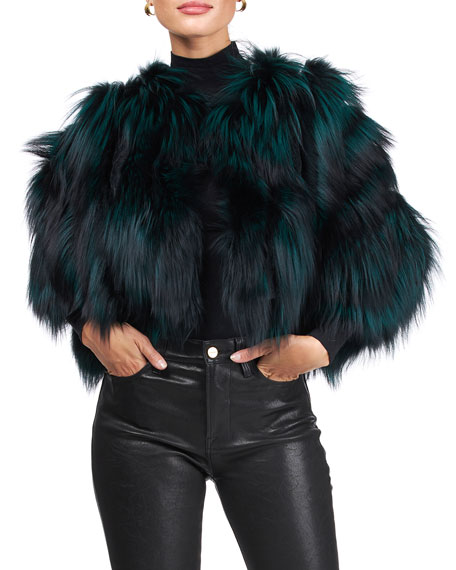 Image 3 of 4: Burnett Cropped Fox Fur Bolero
