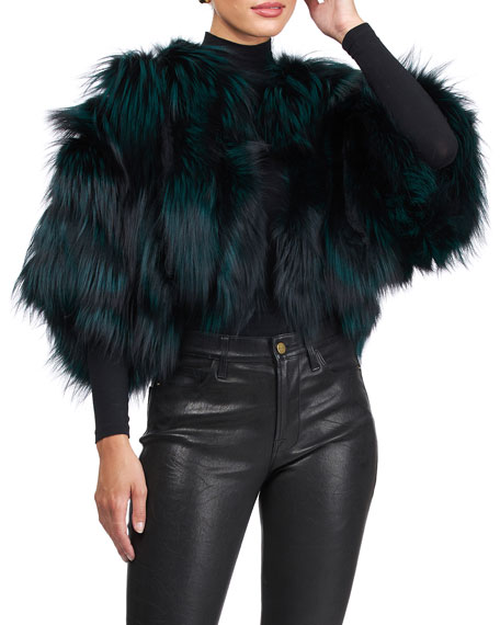 Image 4 of 4: Burnett Cropped Fox Fur Bolero