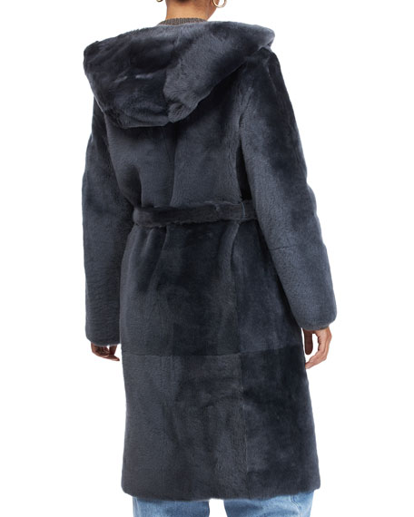 Image 2 of 4: Yves Solomon Short Hooded Shearling Lamb Coat with Belt