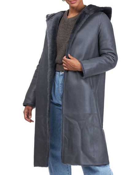 Image 4 of 4: Yves Solomon Short Hooded Shearling Lamb Coat with Belt
