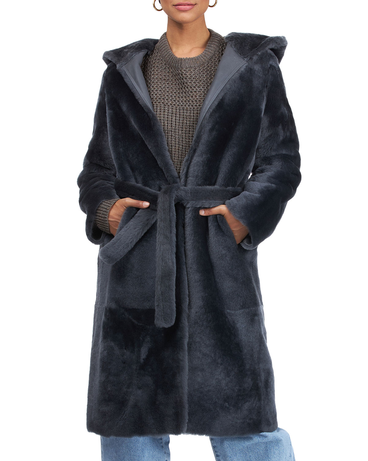 Yves Solomon Short Hooded Shearling Lamb Coat with Belt