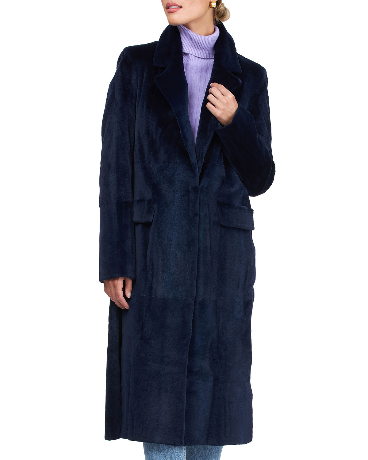 Burnett Sheared Mink Coat with Notched Collar