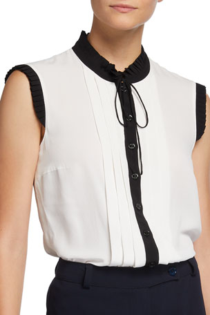 Maison Common Pleated Button-Front Top with Neck Tie