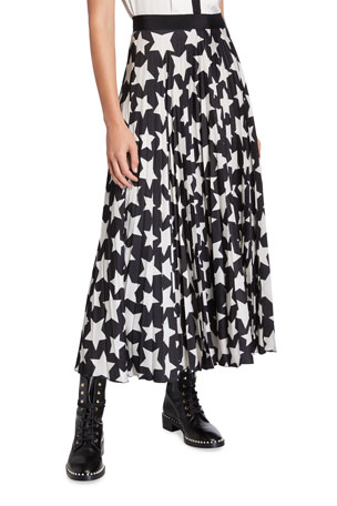 Maison Common Pleated Star-Print A-Line Skirt