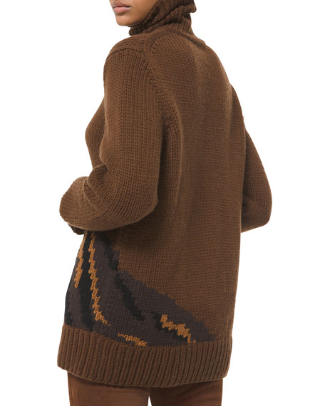 Image 2 of 2: Michael Kors Collection Pony Cashmere Turtleneck Sweater