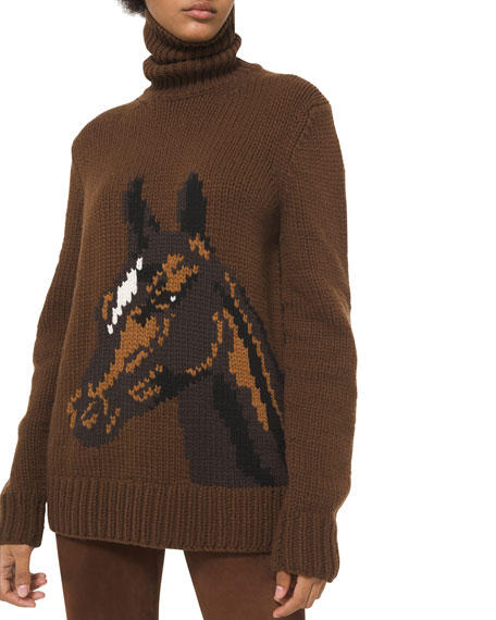 Image 1 of 2: Michael Kors Collection Pony Cashmere Turtleneck Sweater