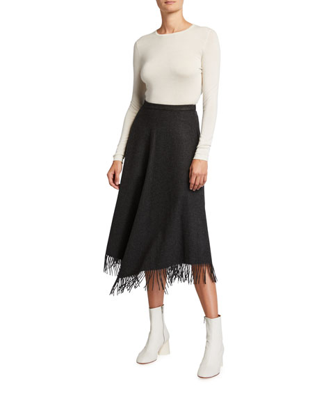 Image 3 of 3: Michael Kors Collection Wool-Cashmere Fringe A-line Skirt