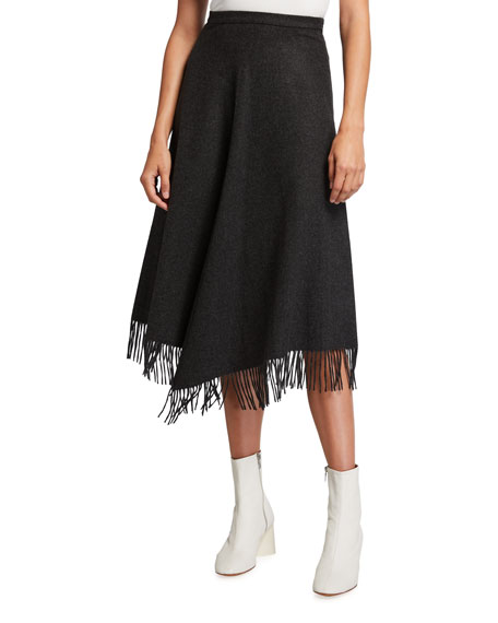 Image 1 of 3: Michael Kors Collection Wool-Cashmere Fringe A-line Skirt