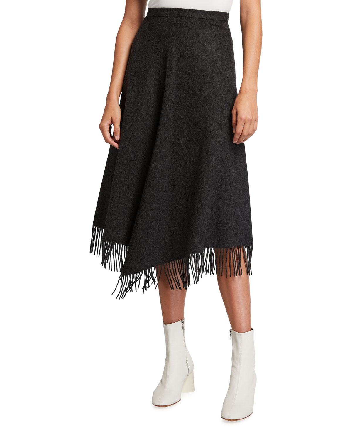 Michael Kors Collection Wool-Cashmere Fringe A-line Skirt