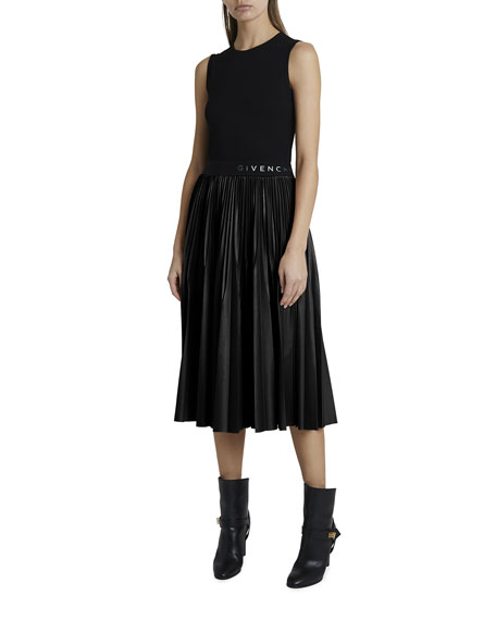 Image 1 of 2: Givenchy Contrast Pleated Skirt Dress