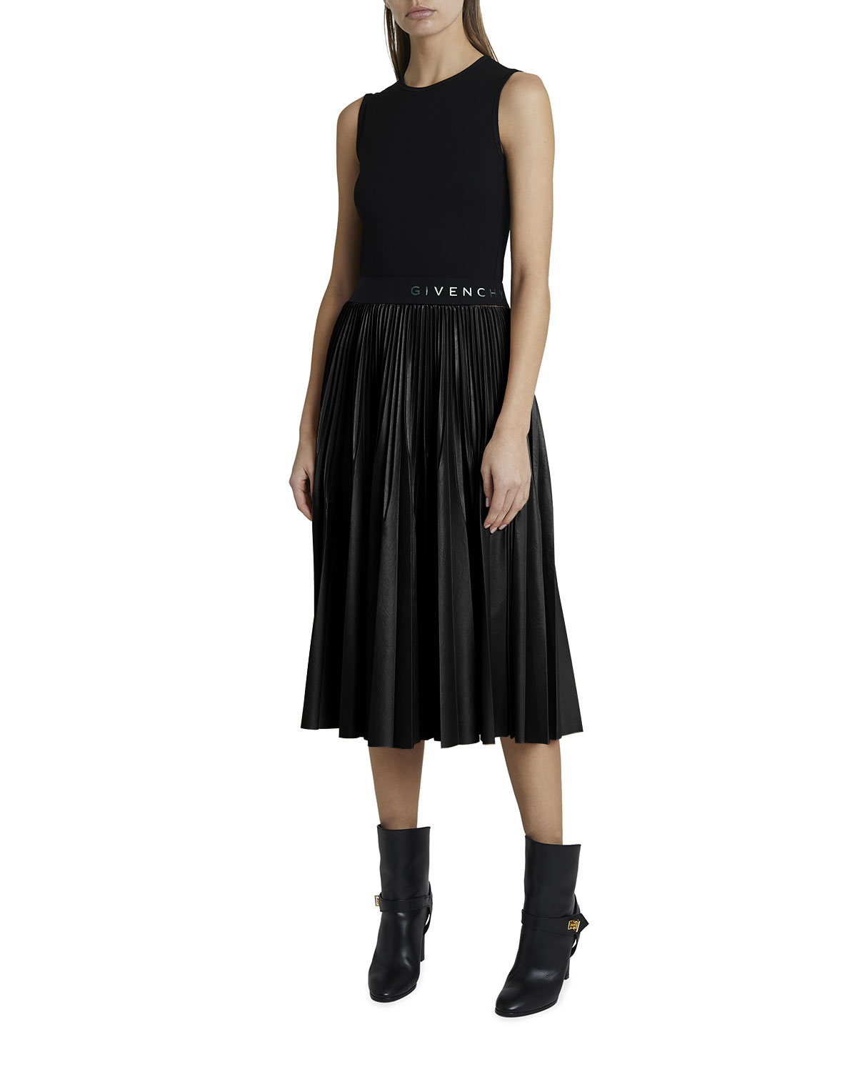 Givenchy Contrast Pleated Skirt Dress