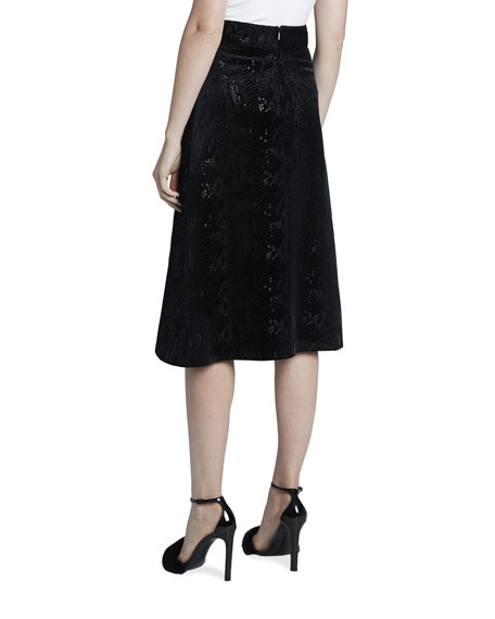 Image 2 of 3: Saint Laurent Velvet Snake Midi A-Line Skirt
