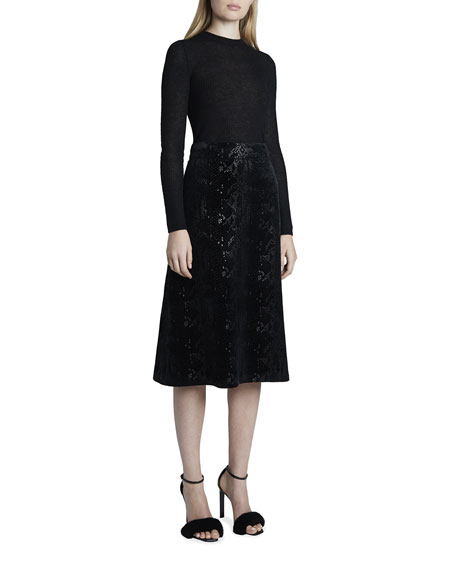Image 3 of 3: Saint Laurent Velvet Snake Midi A-Line Skirt