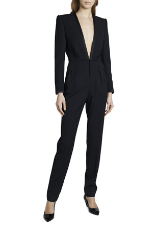 Saint Laurent Deep V-Neck Long-Sleeve Suit Styled Jumpsuit