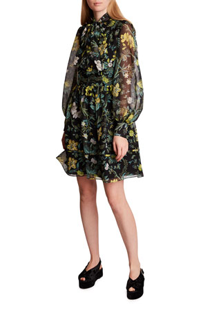 Erdem Remy Long-Sleeve Silk Bow-Neck Dress