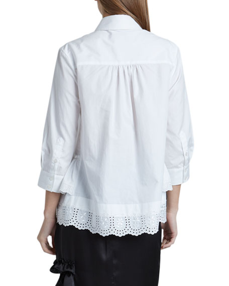 Image 2 of 2: Cotton Poplin 3/4-Sleeve Frill-Hem Button-Down Top
