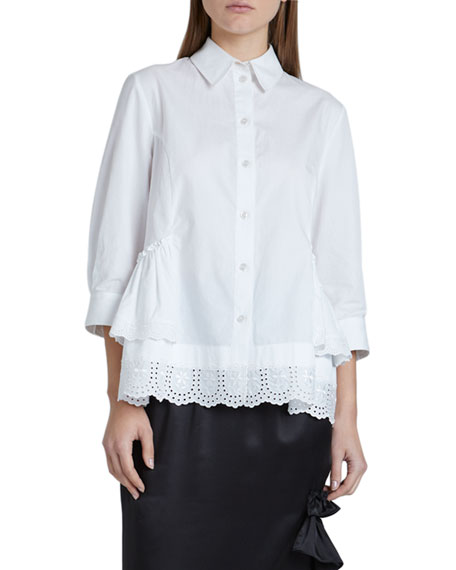 Image 1 of 2: Cotton Poplin 3/4-Sleeve Frill-Hem Button-Down Top