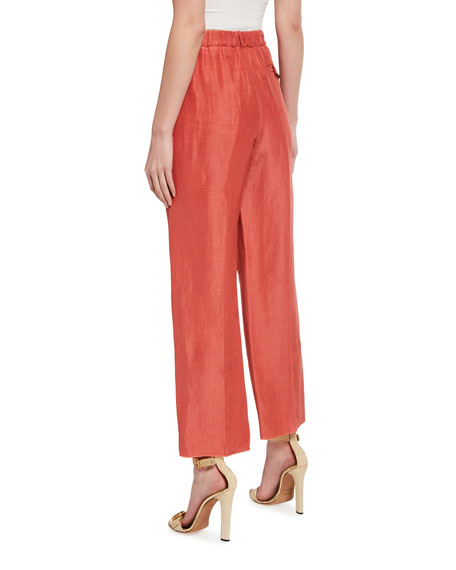 Image 2 of 3: Pleated Stretch-Cotton Easy Pants