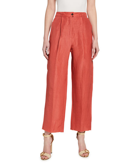 Image 1 of 3: Pleated Stretch-Cotton Easy Pants