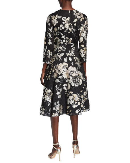 Image 2 of 2: Lela Rose 3/4-Sleeve Floral Brocade Full-Skirt Dress