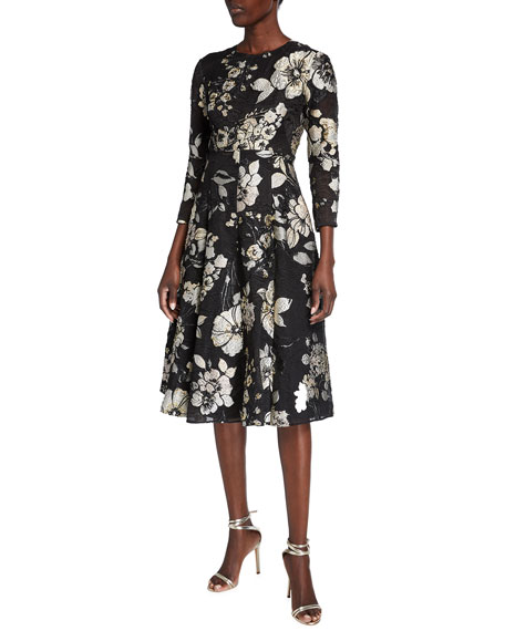 Image 1 of 2: Lela Rose 3/4-Sleeve Floral Brocade Full-Skirt Dress
