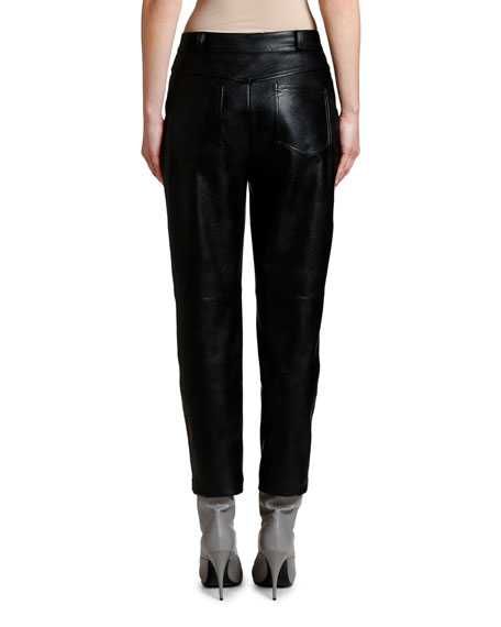 Image 2 of 2: Cropped Faux-Leather Pants