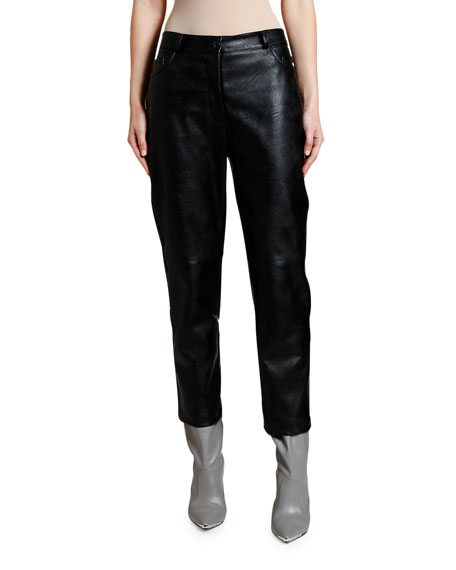 Image 1 of 2: Cropped Faux-Leather Pants