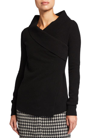 Agnona Crossover Wool-Cashmere Sweater