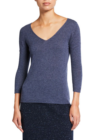 Agnona Cashmere V-Neck 3/4-Sleeve Sweater