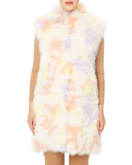 Image 4 of 4: Monique Lhuillier Long Fox Stripped Vest