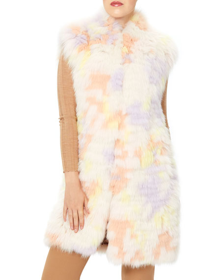 Image 1 of 4: Monique Lhuillier Long Fox Stripped Vest
