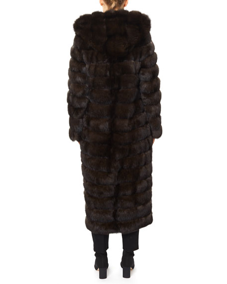 Image 2 of 4: Gorski Long Chevron Russian Sable Hood Coat