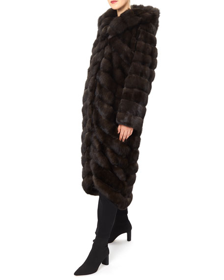 Image 3 of 4: Gorski Long Chevron Russian Sable Hood Coat