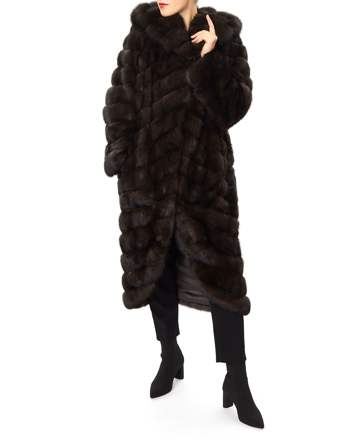 Gorski Long Chevron Russian Sable Hood Coat