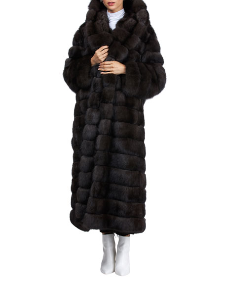 Image 3 of 4: Gianfranco Ferre Horizontal Long Russian Sable Coat