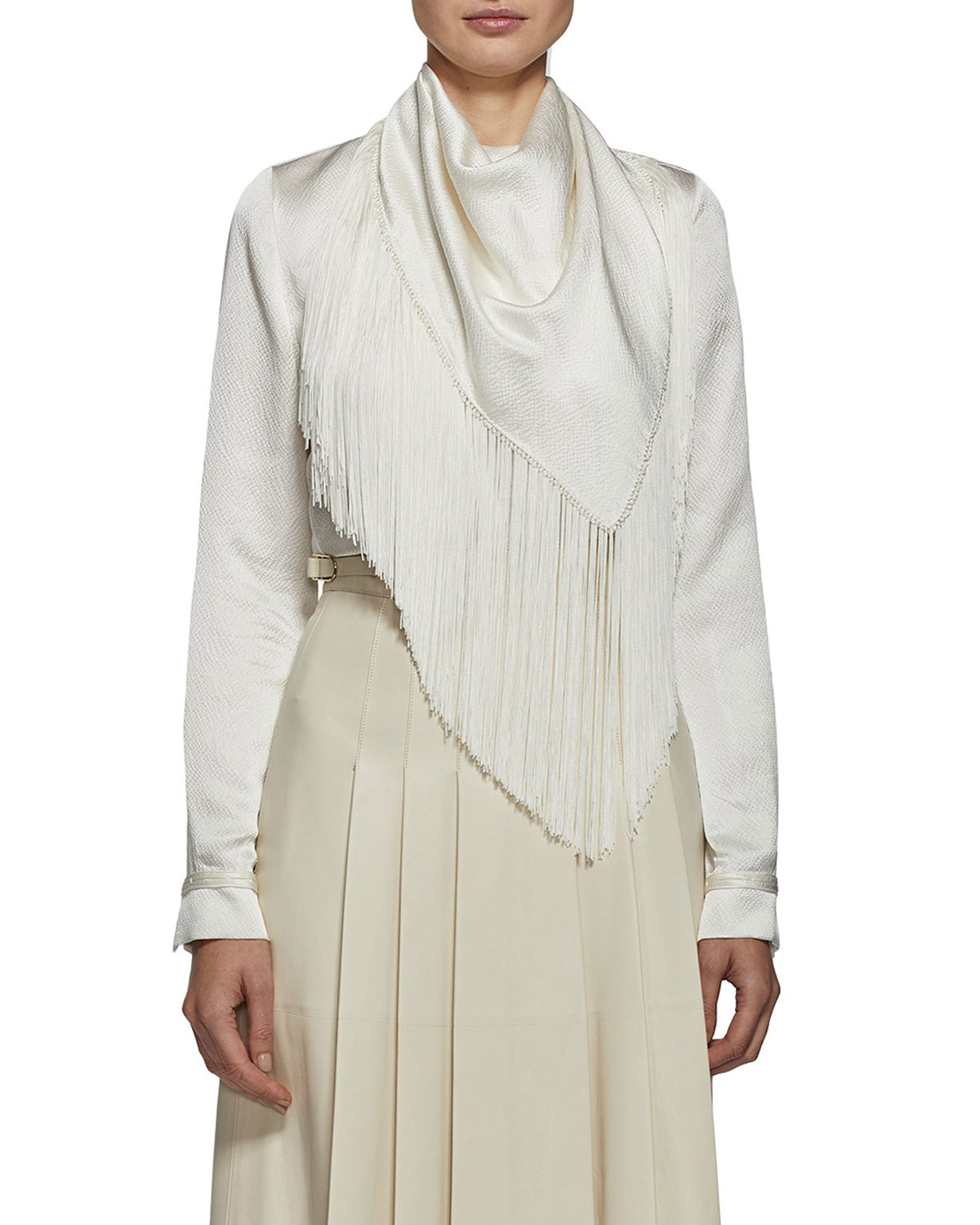 Gabriela Hearst Andersen Draped Silk Fringe Scarf Top