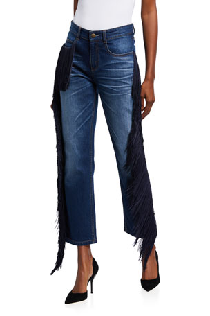 Hellessy Beau Fringed Straight-Leg Ankle Jeans