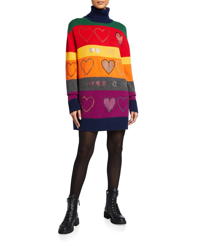 Libertine Striped Heart Cashmere Turtleneck Sweater