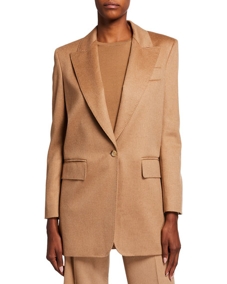 Image 2 of 3: Max Mara Eva One-Button Front Peak-Lapel Wool Jacket