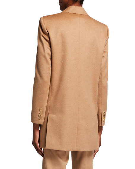 Image 3 of 3: Max Mara Eva One-Button Front Peak-Lapel Wool Jacket