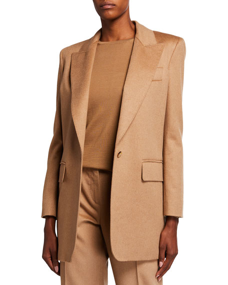 Image 1 of 3: Max Mara Eva One-Button Front Peak-Lapel Wool Jacket