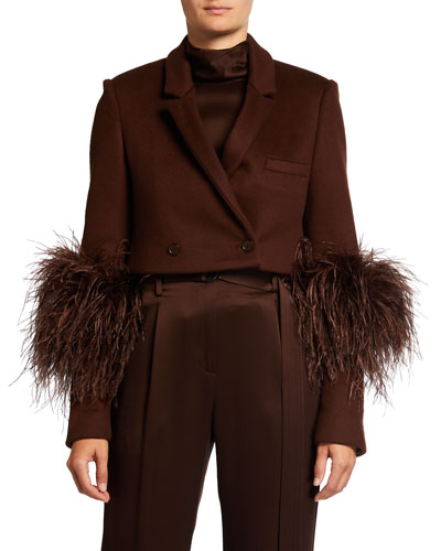 LAPOINTE Ostrich Feather Cropped Wool Blazer