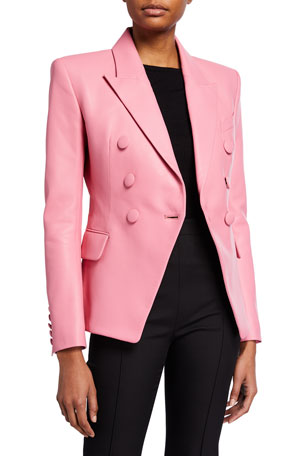 Balmain 6-Button Double-Breasted Leather Blazer