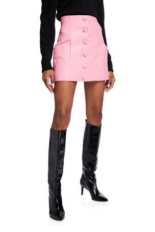 Balmain Button-Front Leather Mini Skirt