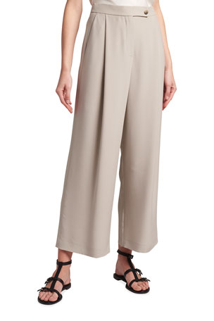 Giorgio Armani Drape Wide-Leg Cropped Silk Pants