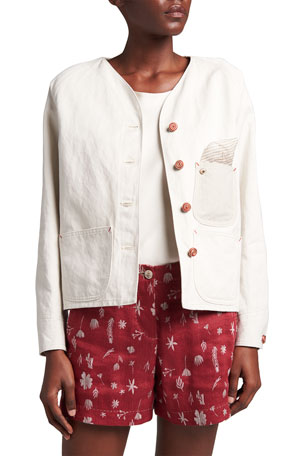 Giorgio Armani Cotton-Blend Canvas Shirt Jacket