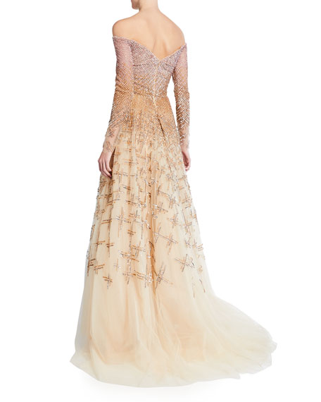 Image 2 of 2: Pamella Roland Ombre Embellished Off-the-Shoulder Ball Gown