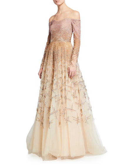 Image 1 of 2: Pamella Roland Ombre Embellished Off-the-Shoulder Ball Gown